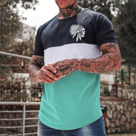 Mens stitching short sleeved chief chest logo casual T shirt
