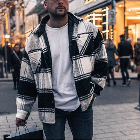 Street fashion check texture jacket