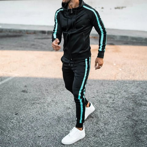 Mens casual sports contrast jacket jogging pants suit