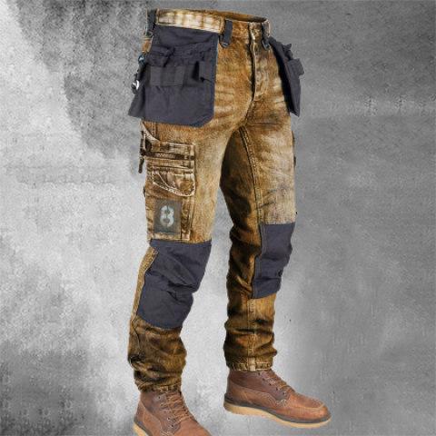 Retro Mens Multi Pocket Outdoor Casual Jeans