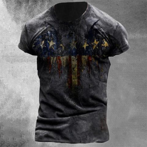 Mens Retro Casual Short Sleeve T-shirt