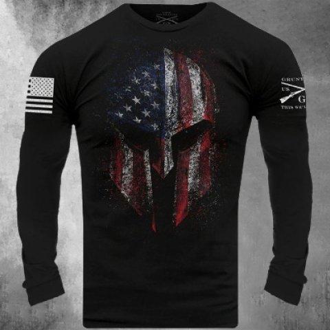Flag Skull Print Mens T-shirt