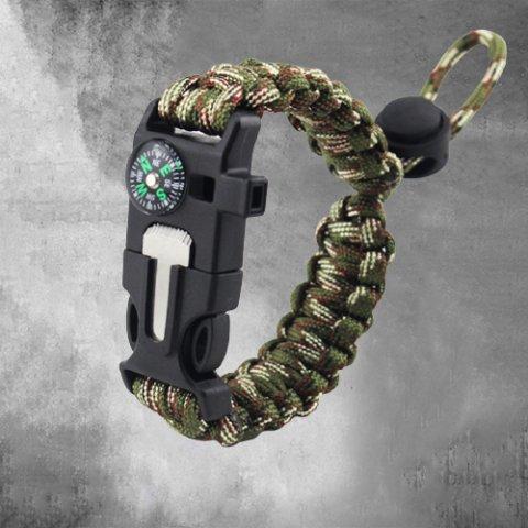 Outdoor multi-function compass flint bracelet