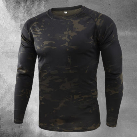Mens Outdoor Quick-drying Camouflage Long Sleeve Tactical T-shirt