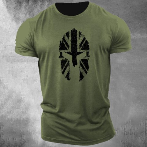 Mens Outdoor Breathable And Quick-drying Printed T-shirt Bodybuilding T-shirt Spartan Helmet Gym Training Top Green