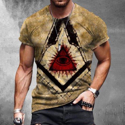 Mens Creative Totem Print Short Sleeve Round Neck T-shirt