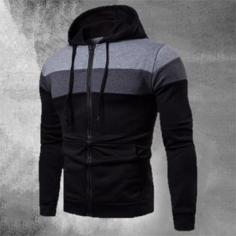 Mens Street Fashion Colorblock Hooded Sweatshirt