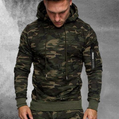 Mens Fashion Camouflage Sweater Coat