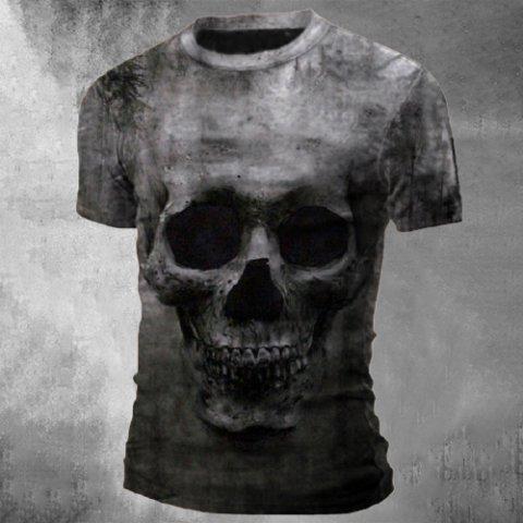 Mens Crew Neck Print Skull Tactical T-shirt