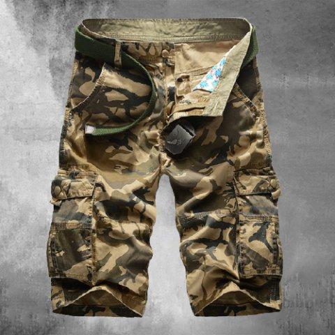 Mens Plus Size Outdoor Sports Casual Pants Military Uniform Multi-pocket Five-point Pants