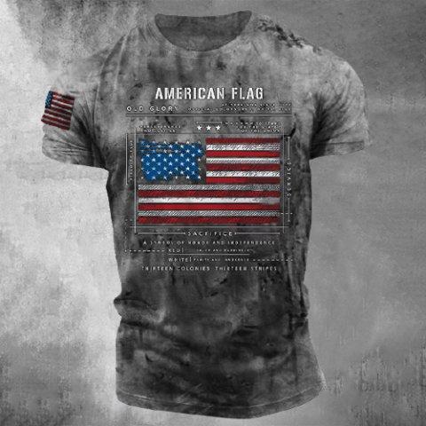 Mens Retro Printed Casual Short-sleeved T-shirt