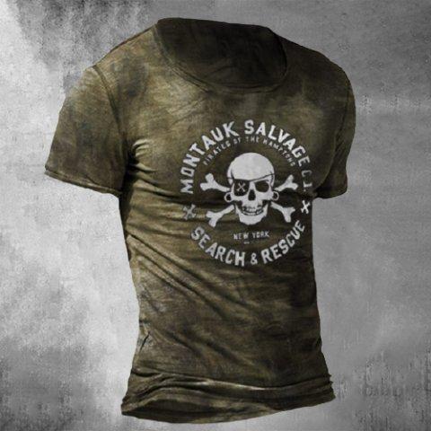 Fashion Retro Casual Short-sleeved Skull T-shirt