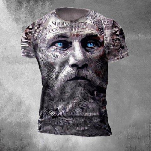 Designer Vintage Viking Warrior Print T-shirt