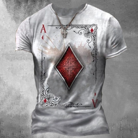 Mens Playing Cards Diamond Square Print T-shirt Hot Stamping Graphic Prints Short Sleeve Casual Tops 100% Cotton Basic Casual Fashion Designer White Black Brown