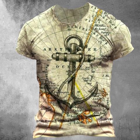 Designer Map Anchor Print T-shirt