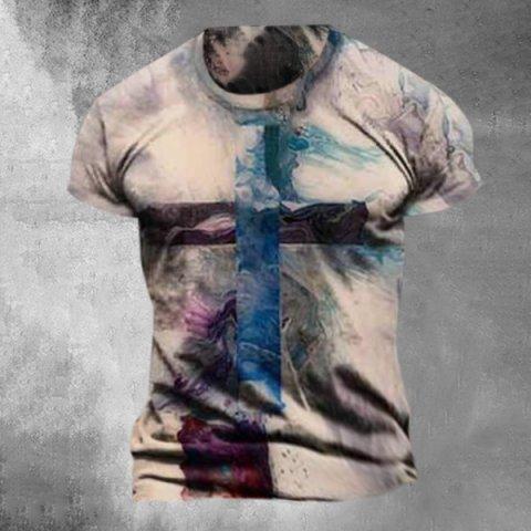 Mens Street Fashion Cross Print T-shirt