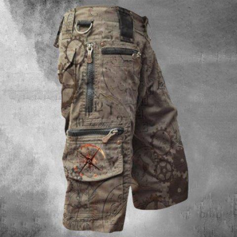 Mens Outdoor Sports Zipper Pocket Tactical Shorts