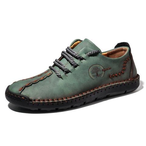 New casual men's shoes large size hand-sewn peas shoes business retro soft sole men's shoes