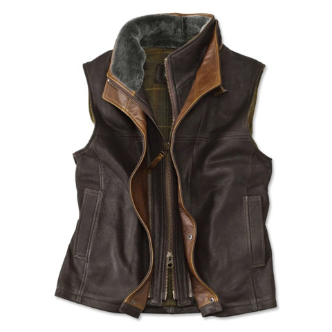 Mens Vintage Fashion Zipper Double Layer Collar Lapel Vest