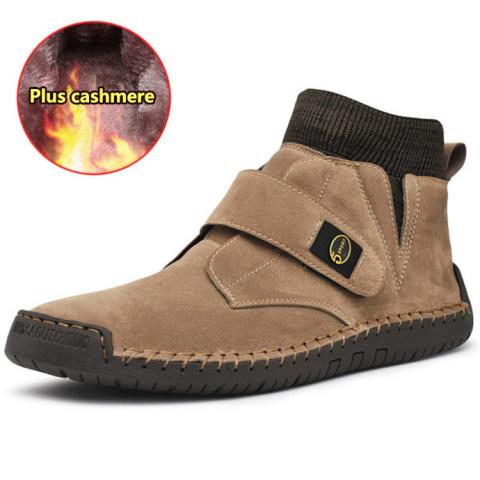 Men's mid-cut Martin boots large size retro short boots handmade velcro socks men boots
