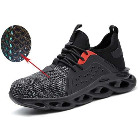 Men's breathable flying woven four-season sports safety protective shoes for leisure and work protective shoes