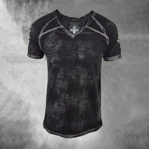 Small V-neck Pullover Print Short-sleeved T-shirt