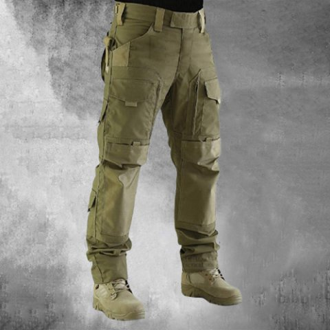Mens Green Solid Outdoor Tactical Trousers