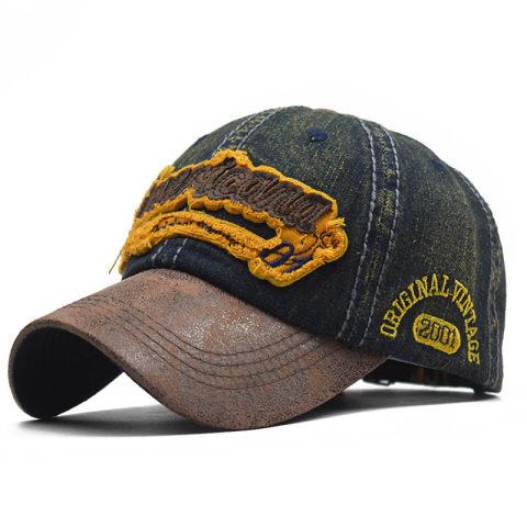 Mens outdoor cowboy stitching distressed baseball cap