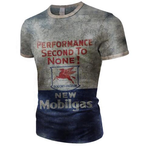 Mens Vintage Print New Mobilgas Print T-shirt