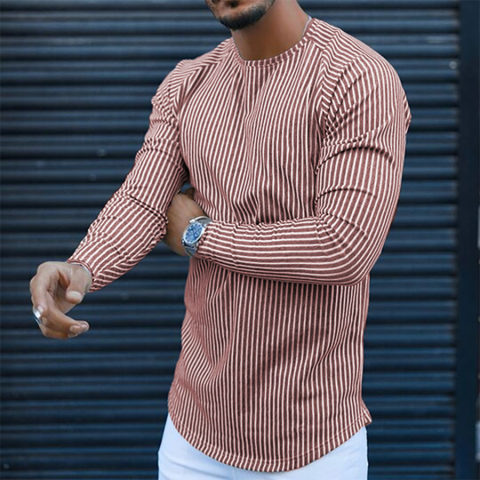 Mens striped slim round neck long sleeve T shirt