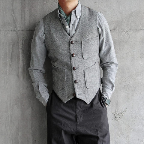 Mens solid color v neck single breasted all match casual vest