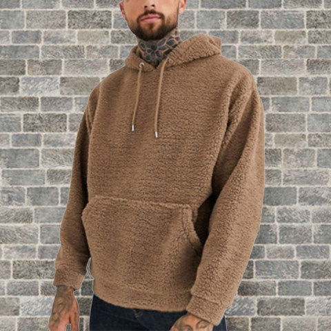 Mens fashion casual solid color plush pullover sweater