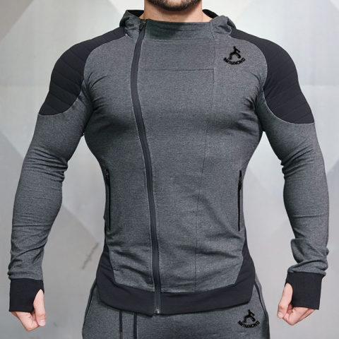 Fitness male brother cardigan hooded sweater jacket
