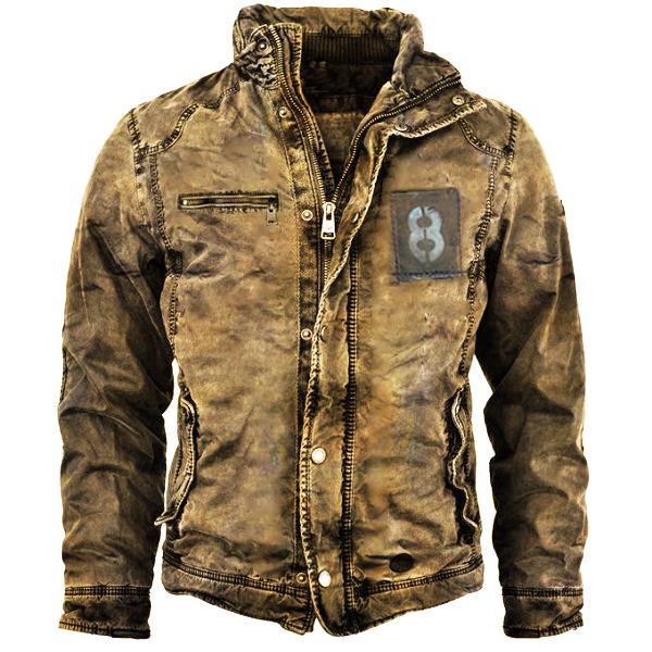 мужская куртка ретро мытая теплая куртка