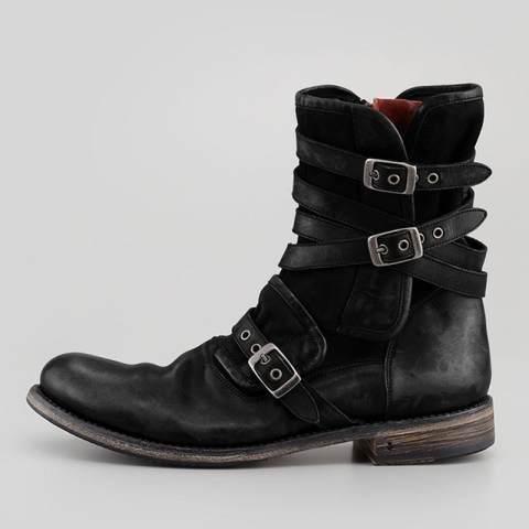 Retro round head belt buckle side zipper thick heel casual men's short boots oversize 44-48