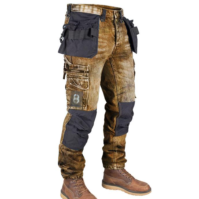 мужские повседневные джинсы с несколькими карманами в стиле ретро