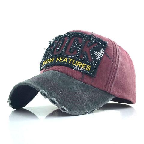 Washed and worn edging rock alphabet baseball hat