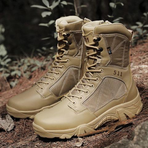 Men's high-top tactical military boots