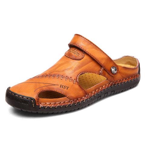 Menico Men Hand Stitching Soft Outdoor Closed Toe Sandals