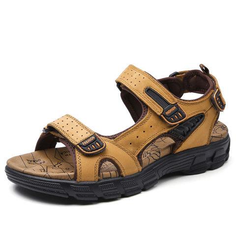 Mens leather toe cap sandals beach shoes