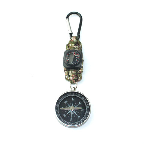 Outdoor precision compass thermometer keychain