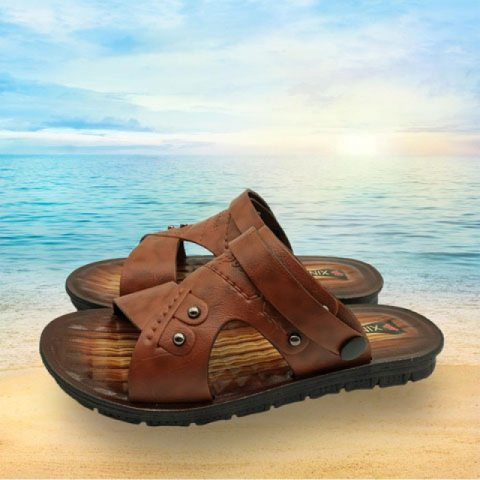 Mens leather toe cap sandals
