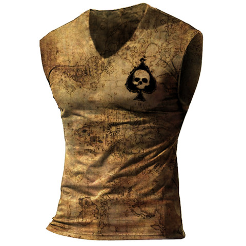 Mens Tactical Outdoor Old World Map Skull Sports Vest