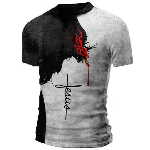 Mens Retro Distressed Shirt Faith Stitching Printing Shirt