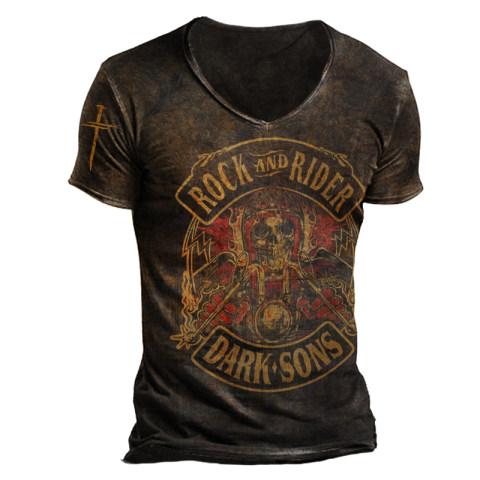 Mens Fashion Rock And Rider Print T-shirt