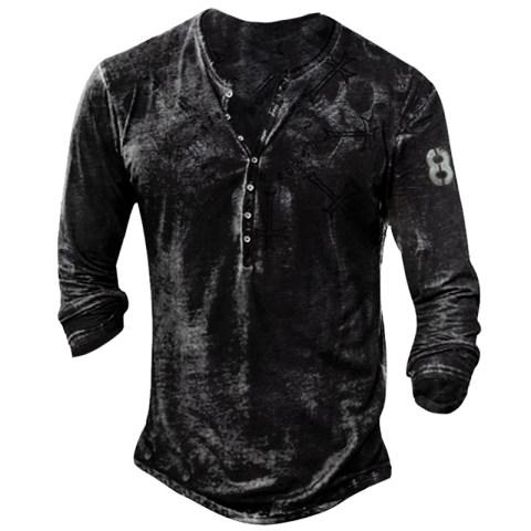 Mens Outdoor Long-sleeved Skull Print Quick-drying T-shirt