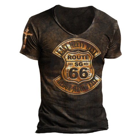 Mens Retro Style Comfortable And Breathable Printed T-shirt