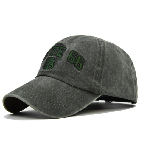 ROUTE 66 Embroidered Denim Washed Baseball Cap