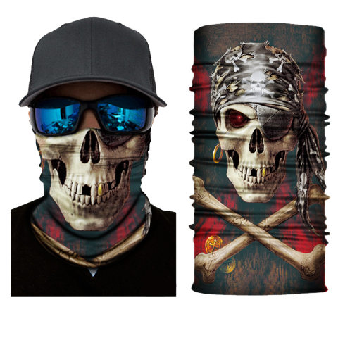 Outdoor riding breathable sweat-absorbent magic headscarf island skull
