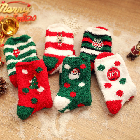 Elk old man embroidered letters Christmas socks